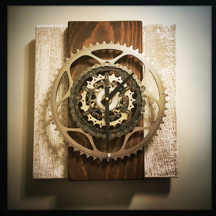 what do you call it when you mix reclaimed wood and bicycle parts rescued from bike shop recycling bins?  I'm calling it a Rustic Bike Gear Wall Clock or rustic elegance. my customers call it a pretty cool looking clock 😎