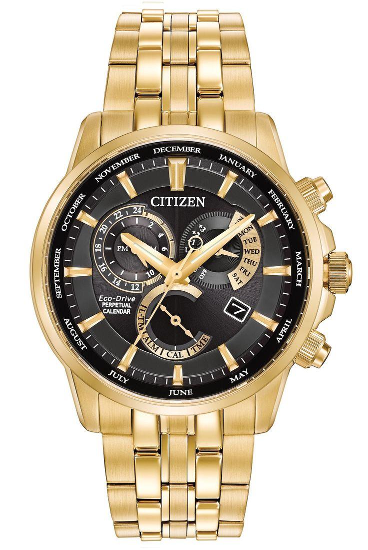 $575.00 Citizen Eco-Drive Men's Gold Toned Stainless Steel Bracelet Watch