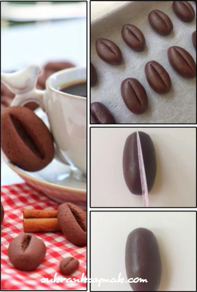 kahvecekirdegi kurabiyesi 1 adet yumurta 150 gr tereyağı (oda ısısında) 2cay bardağı pudra şekeri 1 çay bardağı nişasta (mısır) Yarım çay bardağı nescafeyi 1 yemek kaşığı suda eritin. 2 tepeleme tatlı kaşığı kakao Yaklaşık 2 su bardağı un 1 tatlı kaşığı kabartma tozu 1 tatlı kaşığı vanilya