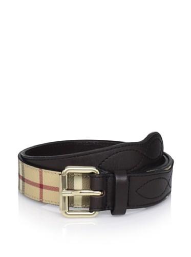 Burberry Men's Plaid Belt (Brown Plaid)