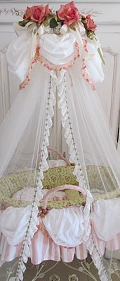 Make a little larger for a twin size bed.  Darling ruffles, lace and bows everywhere! Love the pink bed with the poofed lace canopy.
