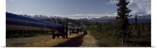 Poster Print Wall Art Print entitled Pipeline passing through a landscape, Trans-Alaskan Pipeline, Alaska, None