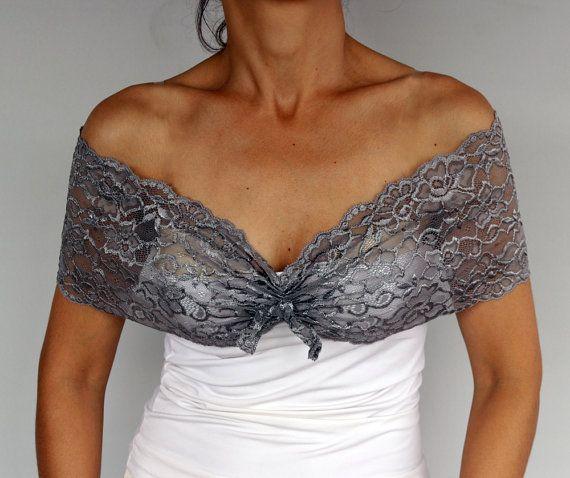 Bridal Dress Cover up, Lace Shoulder Wrap, Grey Gray Lace Shrug, Bridesmaids Gift Shawl, Handmade