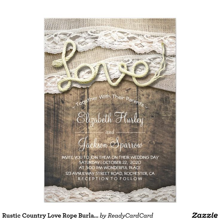 ideas for country wedding invitations%0A Shop Rustic Country Love Rope Burlap Lace Barn Wedding Card created by  ReadyCardCard