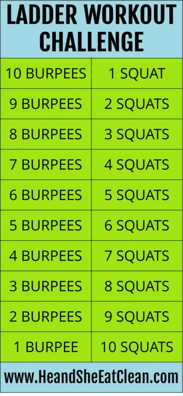 "Use this Ladder Workout Challenge with burpees and squats as your ""morning wake…"