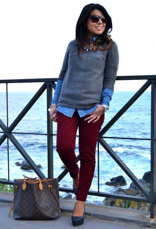 burgundy pants + denim shirt + sweater + statement necklace