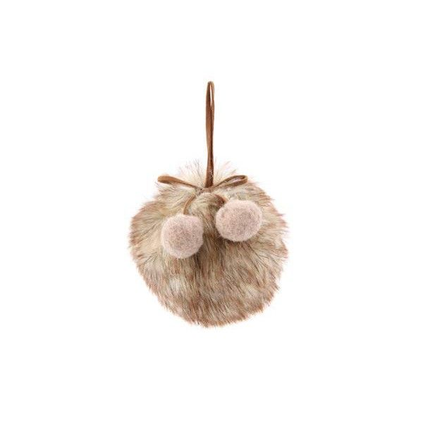 Fluffy Christmas bauble, Cream/Brown | It's all about Christmas