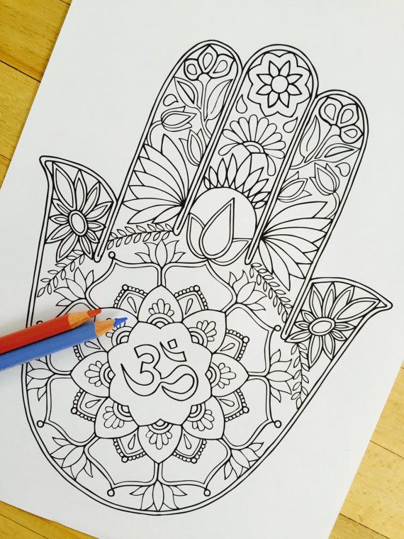 Hamsa Om - Hand Drawn Adult Coloring Page Print