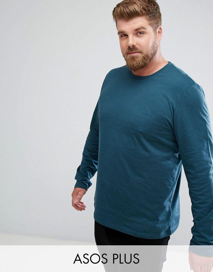ASOS PLUS Long Sleeve T-Shirt In Green - Green