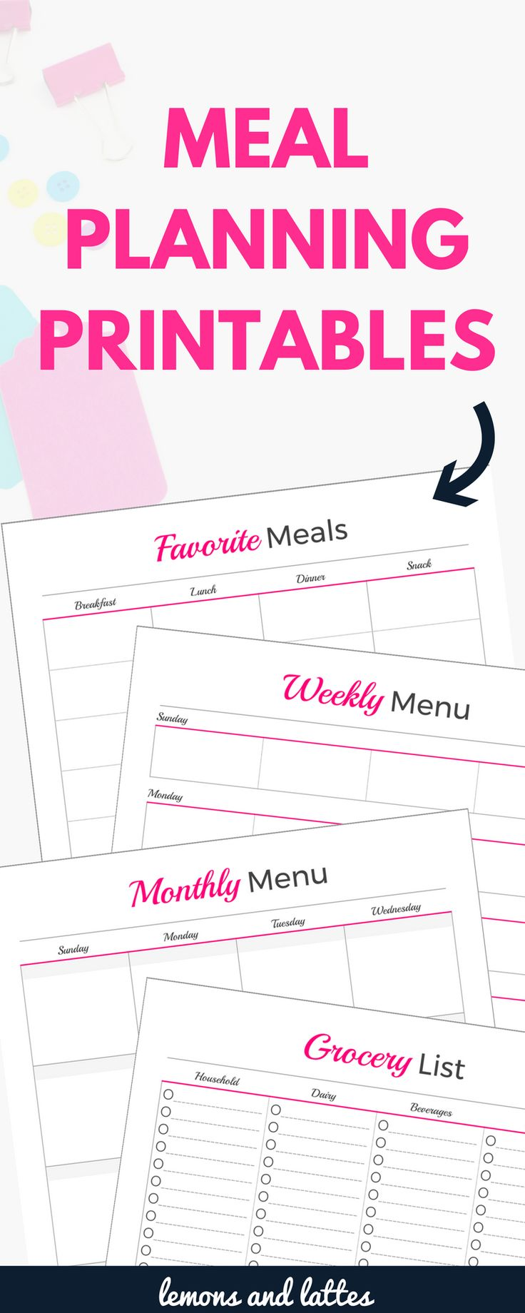 Overwhelmed with what's for dinner? I'm sharing 5 meal planning printables that will help you organize your meal planning once and for all. Sign up for my blog waiting list to snag them! Weekly meal planner template with grocery list, monthly meal planner template