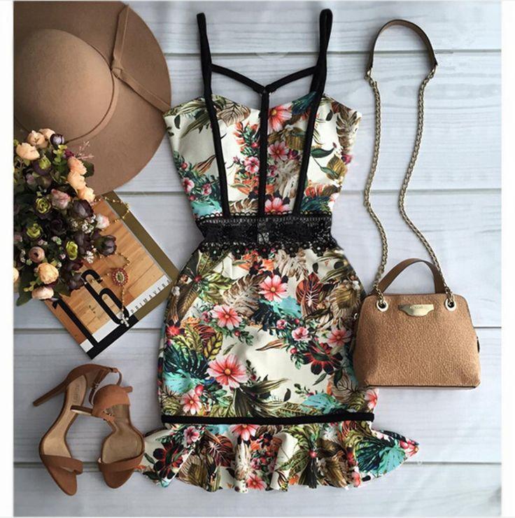 Fashion Summer Women Dresses With Lace Elegant Floral Printed Dress Lady Temperament Charm Slim Dress Casual Sleeveless Dress