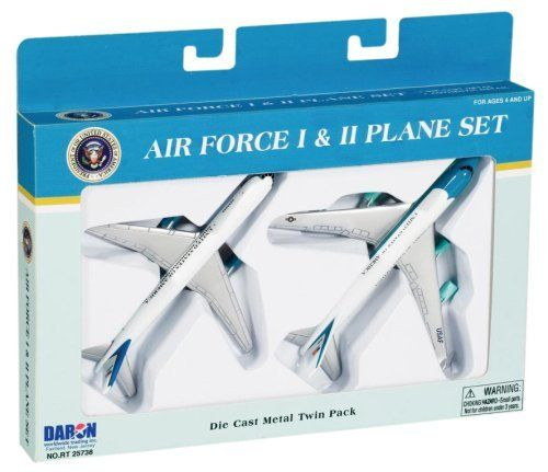Air Force One 2 Plane set, Air Force One and Air Force Two by Daron Worldwide Trading inc.. $9.99. president, 2 planes, die-cast, flight experience, politics. 3 to adult. Plane, Flight, Die-cast, Air-Force One, Imagination. From the Manufacturer                A combination play set of Air Force One and Air Force Two planes.  This die-cast 2 plane set lets your child's imagination fly!                                    Product Description                A comb...