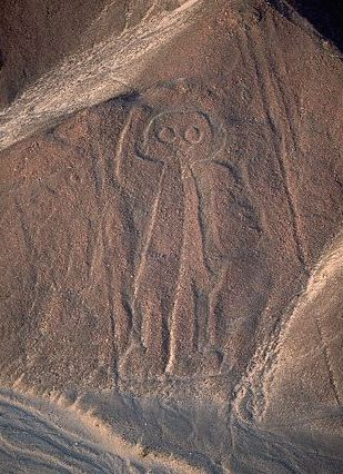 Nazca Lines,  Peru.  This one looks like an alien and there are those who say extraterrestrials made the designs...