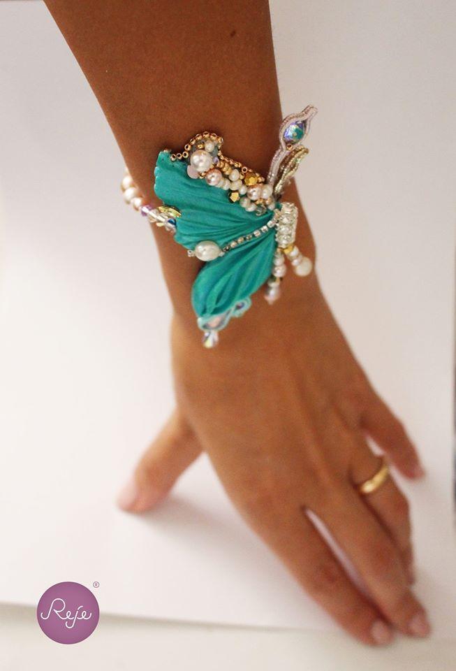 Shibori silk butterfly bracelet. Entirely hand-sewn by Reje, Italian jewelry designer.