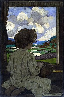 """""""The Journey"""": illustration by Elizabeth Shippen Green for a series of poems by Josephine Preston Peabody, entitled """"The Little Past"""", which relate experiences of childhood from a child's perspective."""