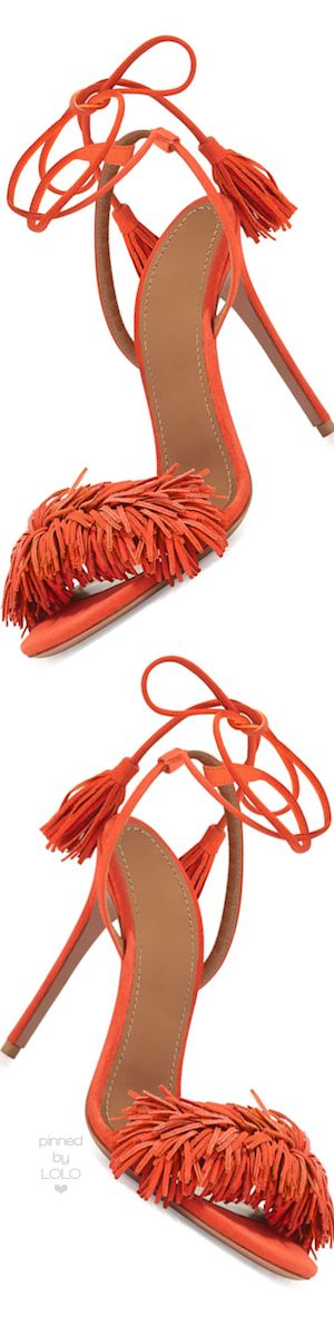 Aquazzura Wild Thing Suede Sandal, Clementine | LOLO❤︎