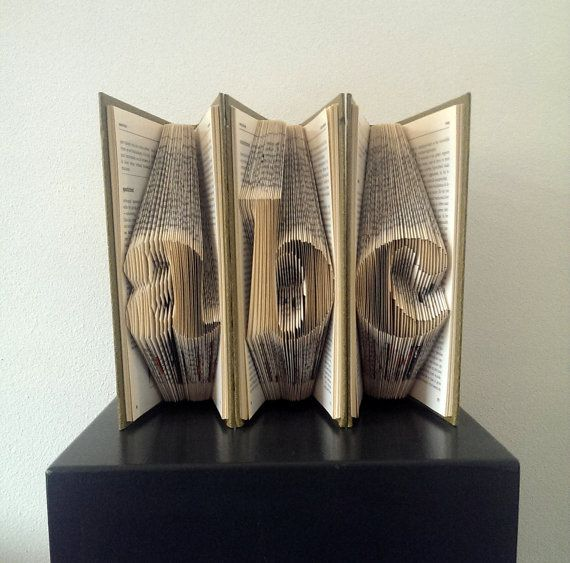 A B C - Folded Letters - Folded Book Art - Alphabet - School art - Wedding decoration - Word Art - Office decor - Letters - Read - Learn