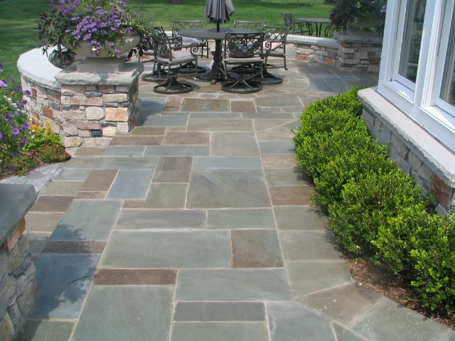 Delightful Stone And Wall Bluestone Patio Patterns