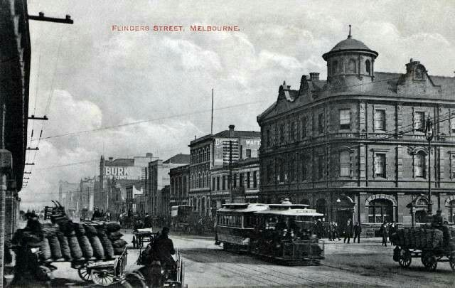 Yarra Family Hotel at the north-west corner of Flinders and William Streets,Melbourne, Victoria.