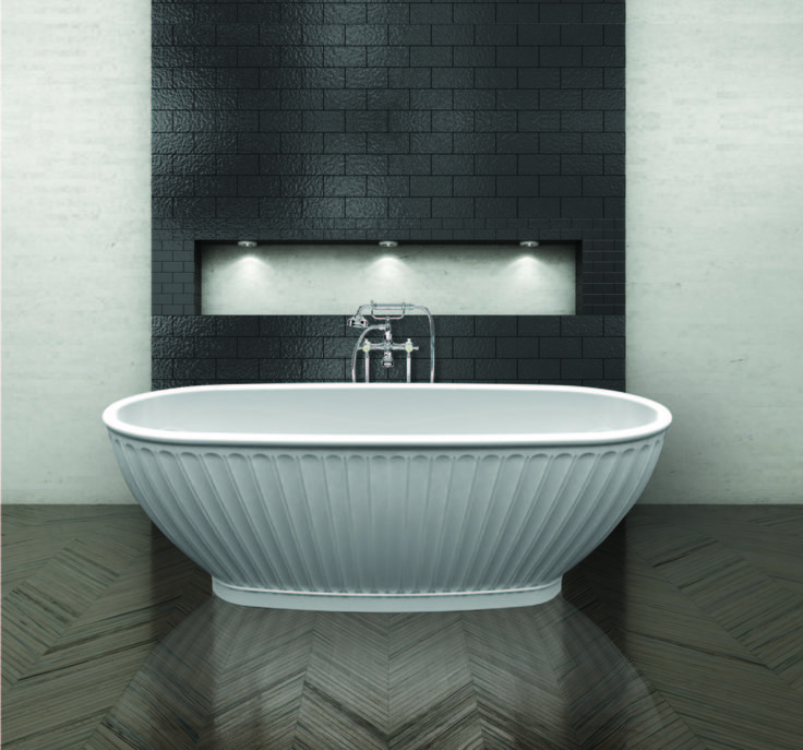 Faience Bath   Grand White Freestanding Bath   Shell Style