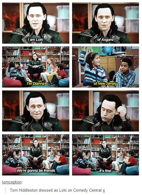 Tom Hiddleston as #Loki in #ComedyCentral (November, 2013)