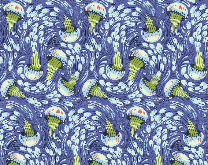 By 1//2 Yard ~ Tula Pink ZUMA ~ Stingray in Aquamarine ~ Free Spirit Fabric