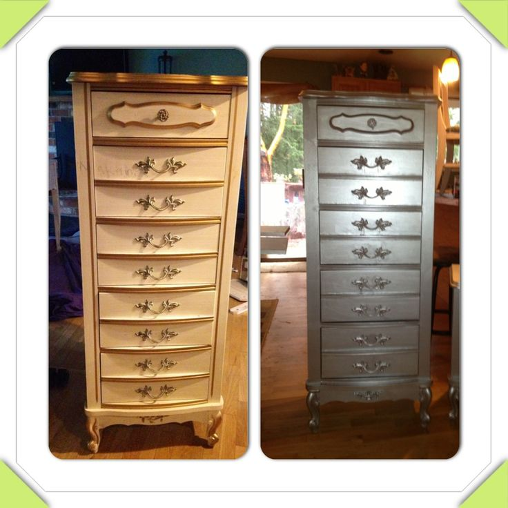 Before And After Paint Furniture With Gripper Paint As A Primer And Paint With Metallic Silver