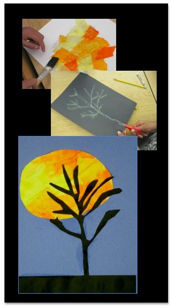 Harvest Moon Tree Silhouettes - collage art lesson using color, line, shape, and space - perfect for Halloween or any time in October!