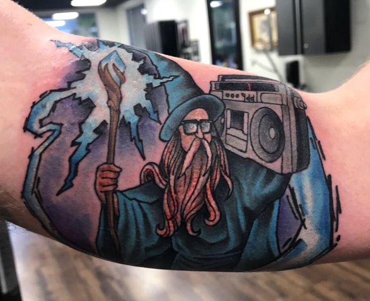 Wizard tattoo done by the driza at Niteowl Tampa,Fl