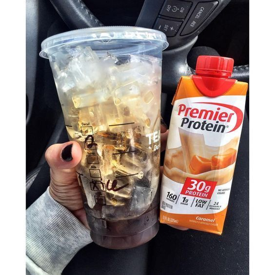 2 shots of espresso Over ice in a venti cup + Caramel premier protein shake.