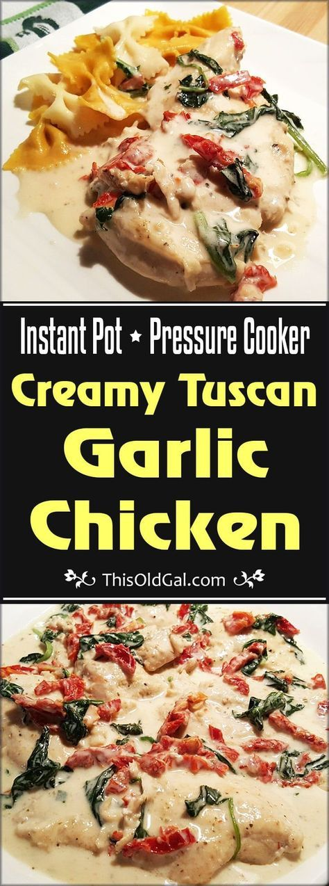 Pressure Cooker Creamy Tuscan Garlic Chicken is a restaurant quality meal that you can make any night of the week, in your own Pressure Cooker, in less than 30 minutes, start to finish. via @thisoldgalcooks