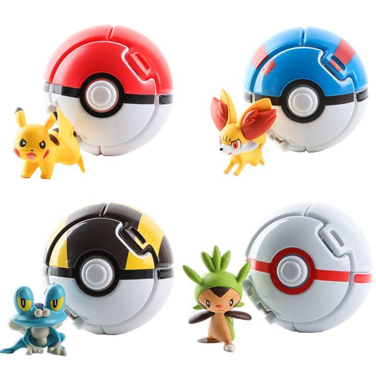 4Pcs/Lot Elf Grasping The PokeBall Toys Pikachu Elf Ball Pikachu Balls 7CM Cartoon Movie With Pikachu Figures Educational Toys