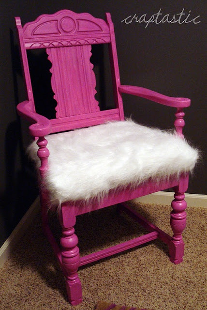 Refinished hot pink chair with furry seat cover