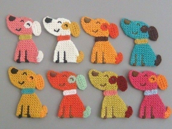 8 Crochet Doggie Appliques 8 Colors EA127 by twpmango on Etsy, $3.95