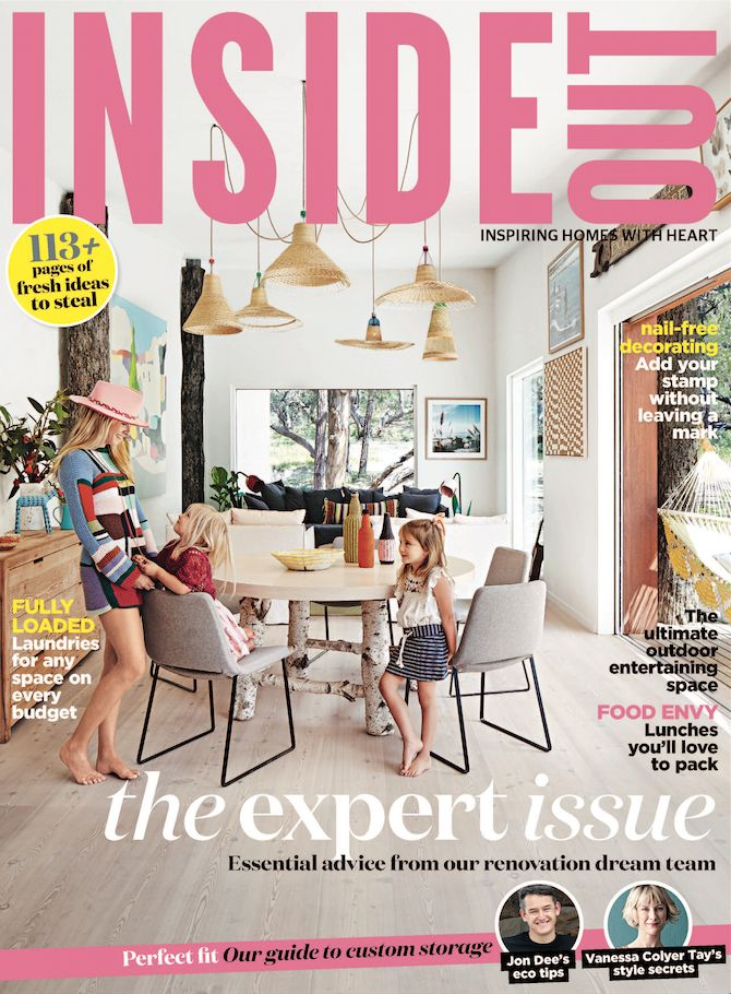February 2016 issue of Inside Out magazine, featuring the home of Arabella Ramsay.   Styling by Julia Green and Noël Coughlan. Photography by Armelle Habib.  Available from newsagents, Zinio,www.zinio.com, Google Play, https://play.google.com/store/newsstand/details/Inside_Out?id=CAowu8qZAQ, Apple's Newsstand, https://itunes.apple.com/au/app/inside-out/id604734331?mt=8&ign-mpt=uo%3D4, and Nook.