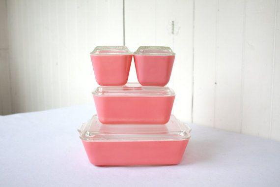 Vintage Pink Pyrex Refrigerator Set, Flamingo Pink, Pyrex Refrigerator Dish, Summertime, Summer Picnic, 8 Piece Set, 501 502 503. $115.00, via Etsy.