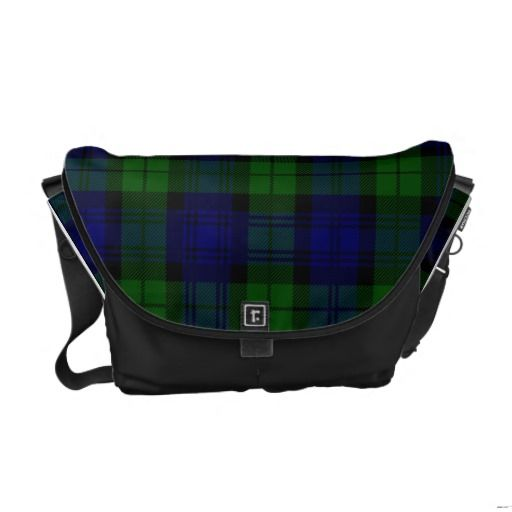 Black Watch Plaid Messenger Bag