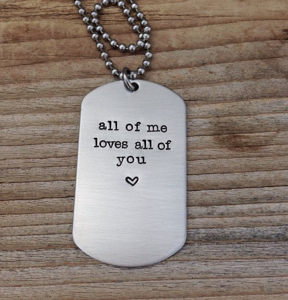 Custom dog tag hand stamped love quite gift for him military couple , anniversary gift stainless steel dog tag on Etsy, $20.00
