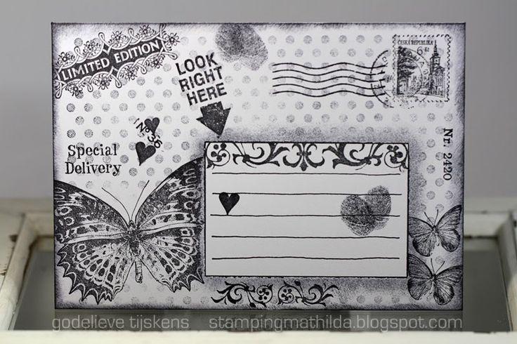 StampingMathilda: stamped Black & White Mail Art Envelope