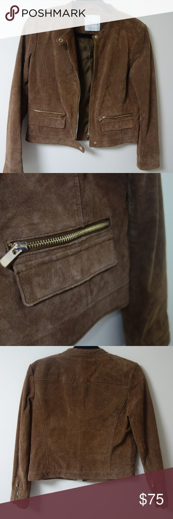 Real Suede - Brown Mango Jacket with Gold Details This supple, suede jacket has a structured look and gold zippers and buttons. Nearly new.  Genuine leather. Mango Jackets & Coats