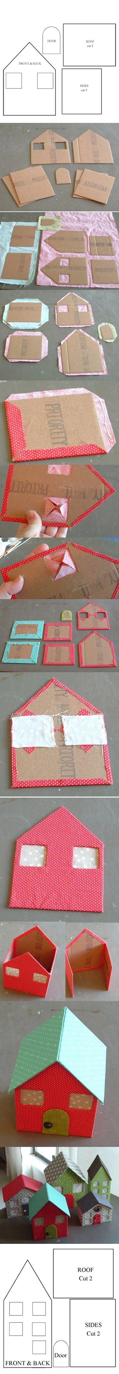 Vejam que lindas essas casinhas forradas com tecido. São feitas com papelão e o molde já está prontinho, é só por as mão à obra V...