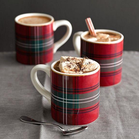Tartan Mugs, Set of 4, Red