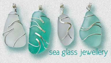 Sea glass jewelry. How pretty! (looks like tiger stripes to me)