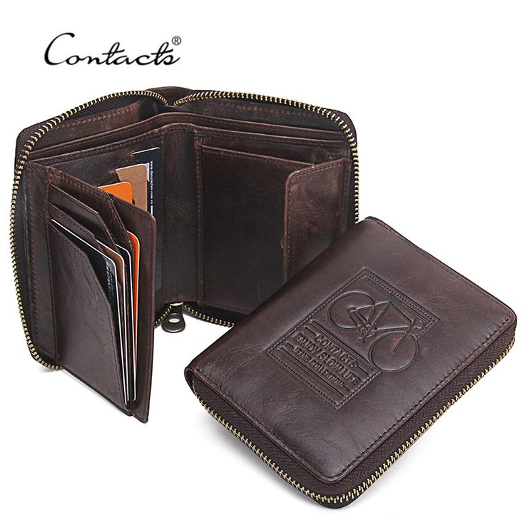 CONTACT'S <b>Men Wallets Genuine</b> Leather Brand Design Zipper ...