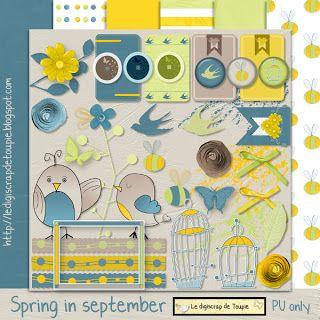 Le Digiscrap de Toupie/Toupie's Digiscrap: FREEBIE: Mon mini-kit : Spring in september - blog #freebie #digiscrap #digitalscrapbooking