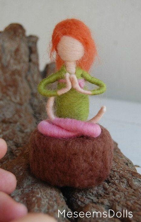 Custom yoga doll needle felted adjustable waldorf by MeseemsDolls