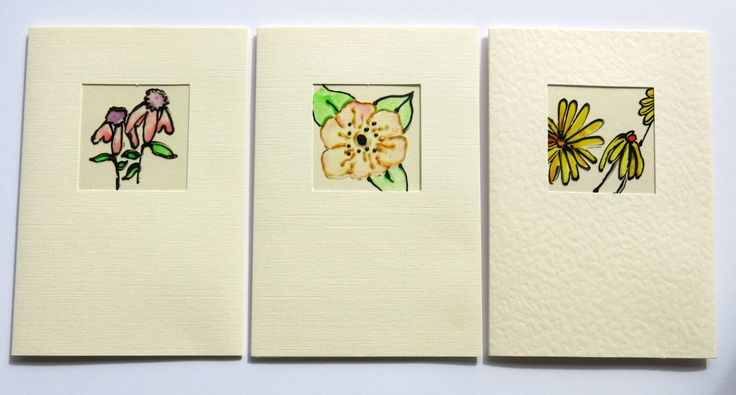 set of 3 - greeting card - birthday card - blank card - handmade - glass painted card - flower card - floral card - feminine card -uk seller by itsaMessyNest on Etsy