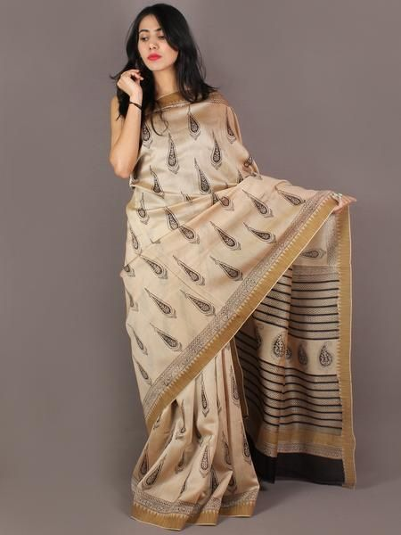 Beige Black  Hand Block Printed in Natural Vegetable Colors Chanderi Saree With Geecha Border - S03170319
