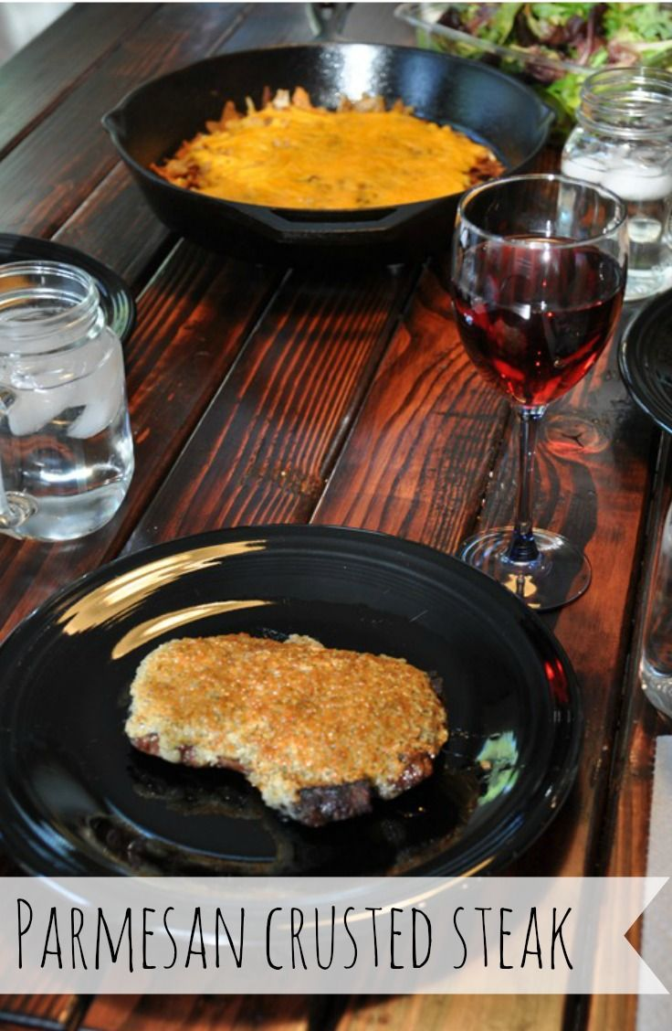Parmesan Crusted Steak.  Wow you dinner guests with this easy but delicious meal!