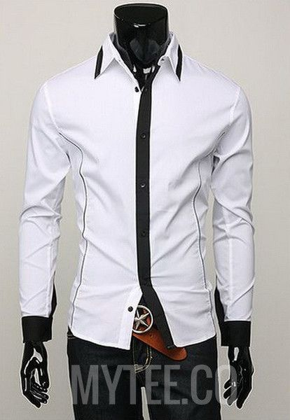 Plain dress shirt with contrasting trim on the cuffs, base of the ...